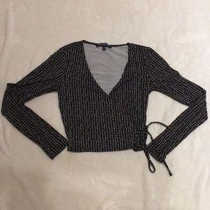 Patterned Long-sleeve Crop Top